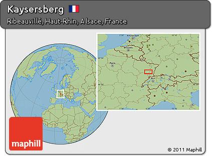 Map Of Kaysersberg France.Free Savanna Style Location Map Of Kaysersberg