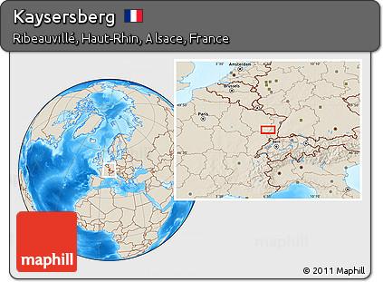 Map Of Kaysersberg France.Free Shaded Relief Location Map Of Kaysersberg