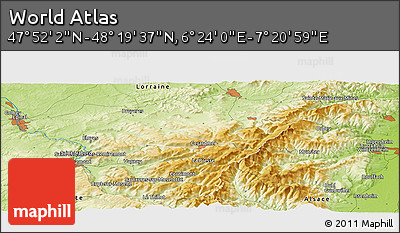 """Physical Panoramic Map of the Area around 48°5'50""""N,6°52'30""""E"""