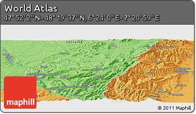 """Political Panoramic Map of the Area around 48°5'50""""N,6°52'30""""E"""