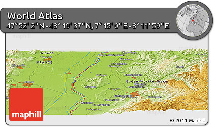 """Physical Panoramic Map of the Area around 48°5'50""""N,7°43'29""""E"""