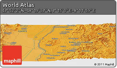"""Political Panoramic Map of the Area around 48°5'50""""N,7°43'29""""E"""