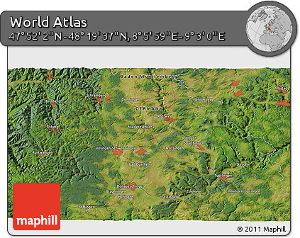 """Satellite 3D Map of the Area around 48°5'50""""N,8°34'29""""E"""