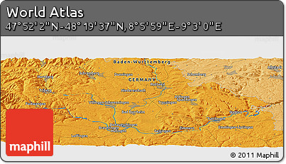 """Political Panoramic Map of the Area around 48°5'50""""N,8°34'29""""E"""