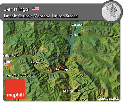 Lincoln County Montana Map.Free Satellite Map Of Jennings