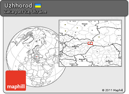 Free Blank Location Map Of Uzhhorod - Uzhhorod map