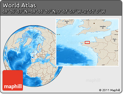 """Shaded Relief Location Map of the Area around 48°30'27""""N,3°19'30""""W"""