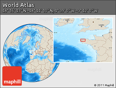 """Shaded Relief Location Map of the Area around 48°30'27""""N,4°10'30""""W"""