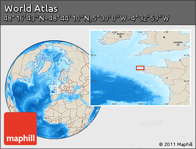 """Shaded Relief Location Map of the Area around 48°30'27""""N,5°1'30""""W"""