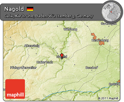 Map Of Germany Karlsruhe Baden.Free Physical Map Of Nagold