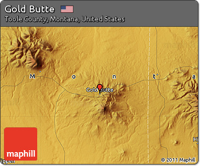 Free Physical Map Of Gold Butte - Montana physical map united states