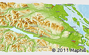 """Physical 3D Map of the area around 48°54'57""""N,124°1'30""""W"""
