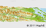 """Physical Panoramic Map of the area around 48°54'57""""N,124°1'30""""W"""