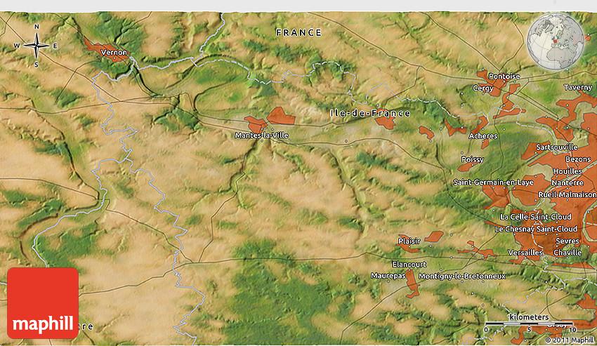 Map Of Yvelines France.Satellite 3d Map Of Saint Quentin En Yvelines