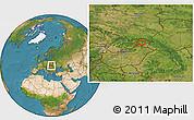 Satellite Location Map of Košice