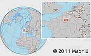 Gray Location Map of Paris
