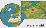 Satellite Location Map of Paris