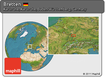 Map Of Germany Karlsruhe Baden.Free Satellite Location Map Of Bretten