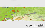 """Physical Panoramic Map of the area around 48°54'57""""N,8°34'29""""E"""