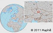 Gray Location Map of Pelhřimov