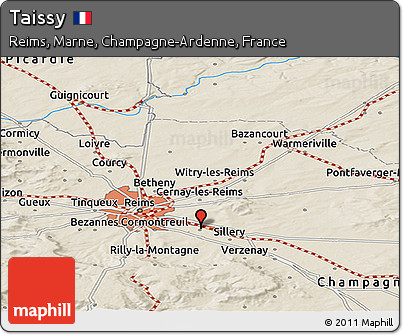 Shaded Relief Panoramic Map of Taissy