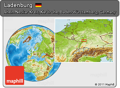Map Of Germany Karlsruhe Baden.Free Physical Location Map Of Ladenburg