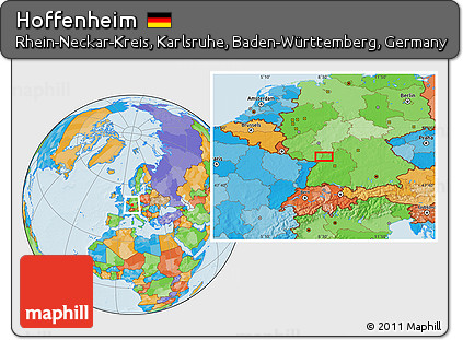 Map Of Germany Hoffenheim.Free Political Location Map Of Hoffenheim