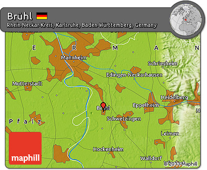 Map Of Germany Karlsruhe Baden.Free Physical Map Of Bruhl