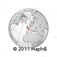 """Outline Map of the Area around 49° 43' 37"""" N, 0° 4' 30"""" E, rectangular outline"""