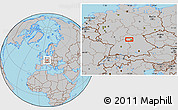 Gray Location Map of Frankfurt