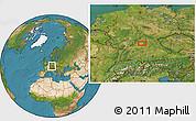 Satellite Location Map of Frankfurt