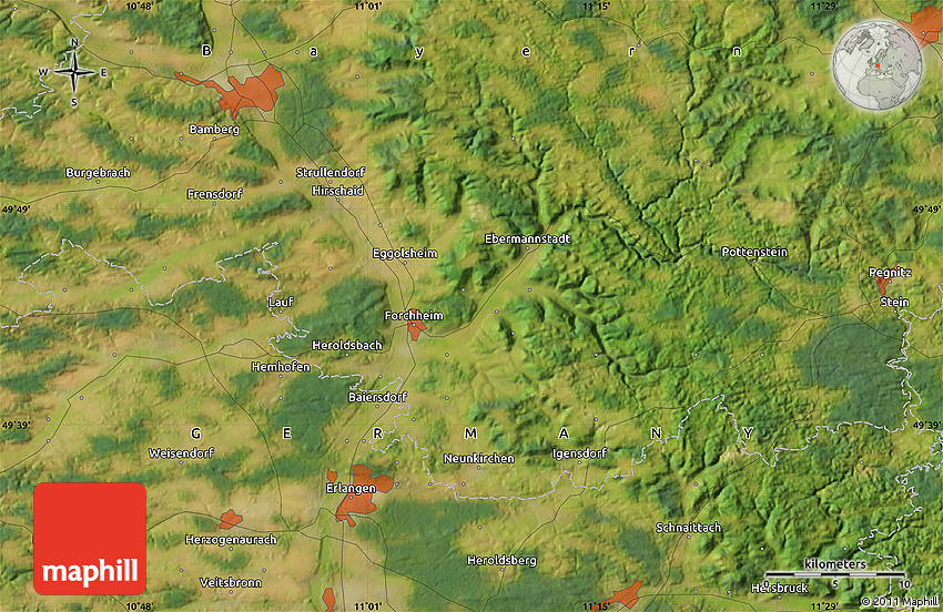 Satellite Map Of Erlangen - Erlangen map