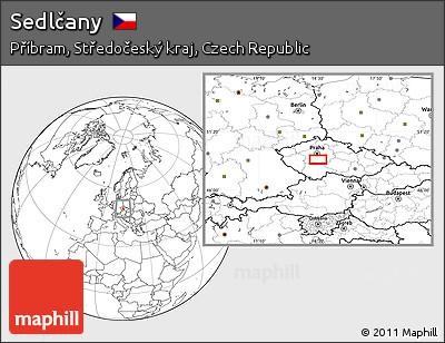 Blank Location Map of Sedlčany