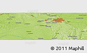 """Physical Panoramic Map of the area around 49°43'37""""N,23°52'30""""E"""
