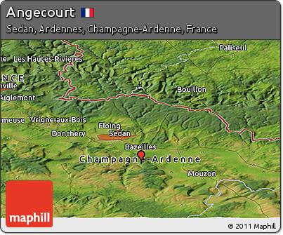 Satellite Panoramic Map of Angecourt