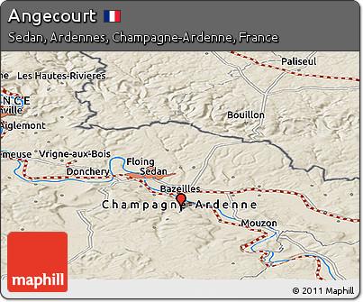 Shaded Relief Panoramic Map of Angecourt