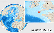 """Shaded Relief Location Map of the area around 49°43'37""""N,5°52'30""""W"""
