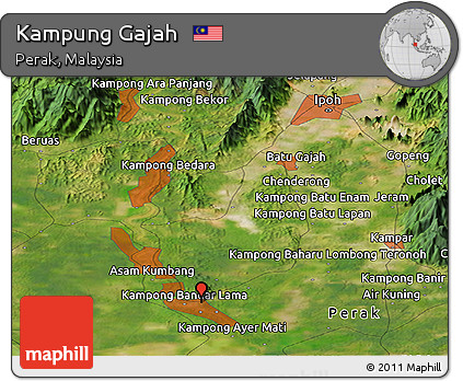 Free Satellite Panoramic Map Of Kampung Gajah