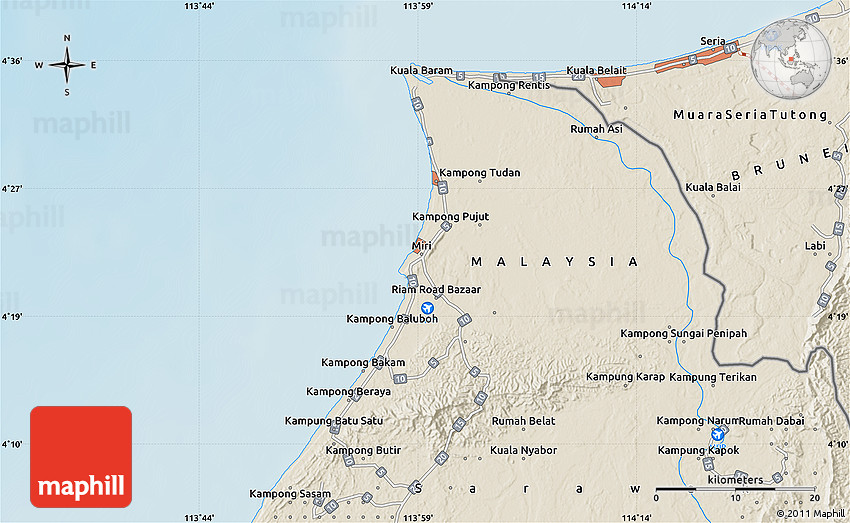 Shaded Relief Map of Miri