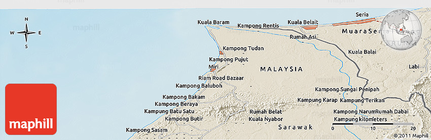 Shaded Relief Panoramic Map of Miri
