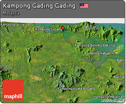 Satellite 3D Map of Kampong Gading Gading