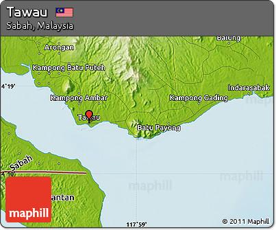 Physical Map of Tawau
