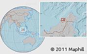 Gray Location Map of Kampong Tanjong Berapan, hill shading