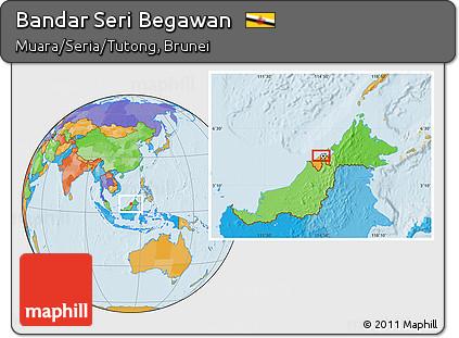 Free Political Location Map of Bandar Seri Begawan