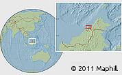 Savanna Style Location Map of Kampong Tanjong Berapan, hill shading