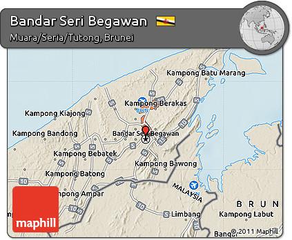 Free Shaded Relief Map of Bandar Seri Begawan