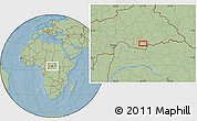 """Savanna Style Location Map of the area around 4°53'57""""N,22°10'29""""E, hill shading"""