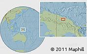 Savanna Style Location Map of Ambunti, hill shading