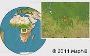 "Satellite Location Map of the area around 4°1'30""S,22°10'29""E"