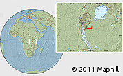 """Savanna Style Location Map of the area around 4°1'30""""S,30°40'29""""E, hill shading"""